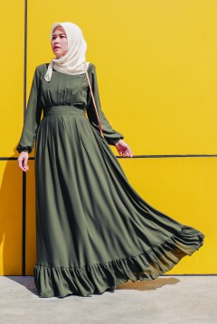 JULIA FLOWY TALL -  ARMY GREEN
