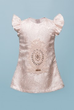 TERESSA BROCADE BABY DRESS - CHAMPAGNE