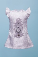 TERESSA BROCADE BABY DRESS - GREY