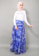 SOFEA ORGANZA PRINTED - ROYAL BLUE