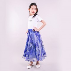 SKIRT MUSCARY PRINTED  KIDS ROYAL BLUE