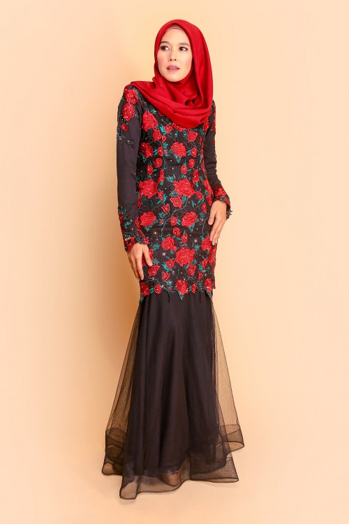 AMANI KURUNG - BLACK RED