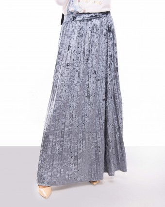 VELVET SKIRT - BLUE GREY