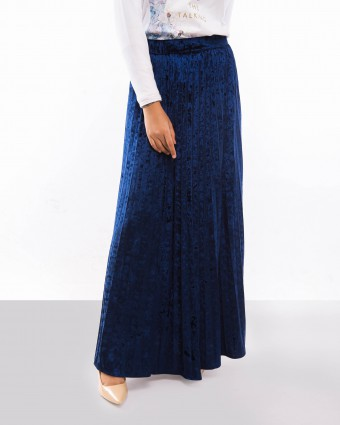 VELVET SKIRT - DARK BLUE