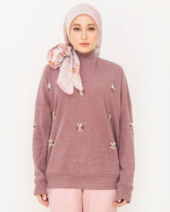 ALANAA BEADS SWEATSHIRT- DUSTY PINK