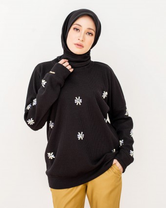 ALANAA BEADS SWEATSHIRT - BLACK