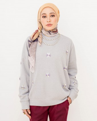 ALANAA BEADS SWEATSHIRT - DUSTY BLUE