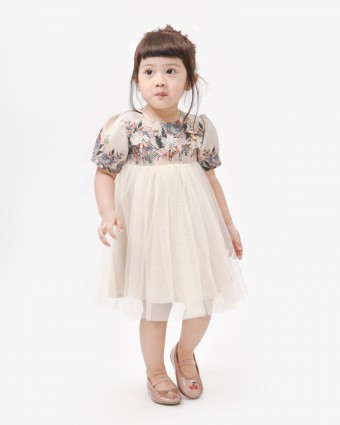 ALTHEA LUXE BABY DRESS - CHAMPAGNE