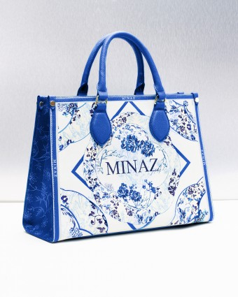 ASIAN PORCELAIN TOTE BAG - BLUE WHITE