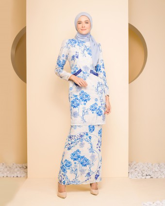 ELAINE ASIAN KURUNG - BLUE WHITE