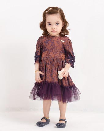 ATIKAH BABY DRESS - DARK PURPLE
