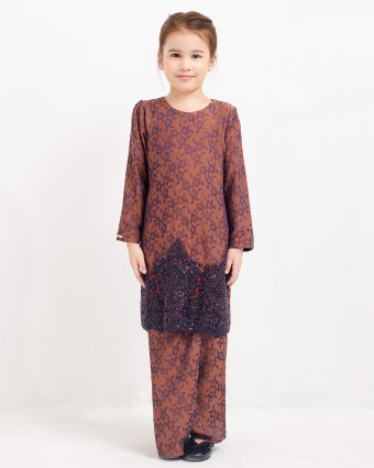 ATIKAH KIDS KURUNG RIAW - DARK PURPLE (XS-M)