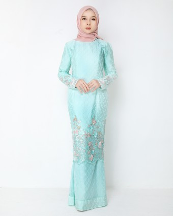 ATILIA LUXE CHECKERED KURUNG - TIFFANY GREEN