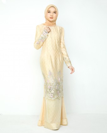 ATILIA LUXE CHECKERED KURUNG - PASTEL YELLOW