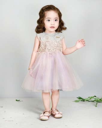 FATEEMA BABY DRESS SONGKET - DUSTY PURPLE