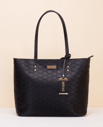 MEDIUM MONOGRAM TOTE BAG - BLACK
