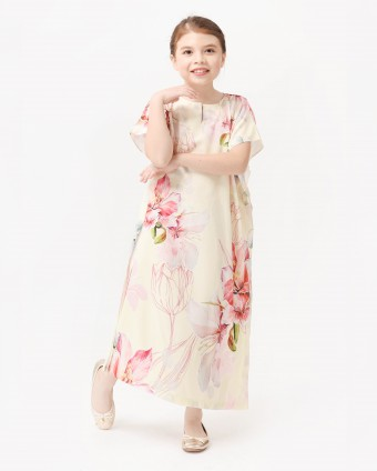 BOUGAINVILLEA KIDS KAFTAN - SOFT YELLOW