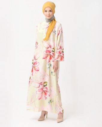 BOUGAINVILLEA KAFTAN - SOFT YELLOW