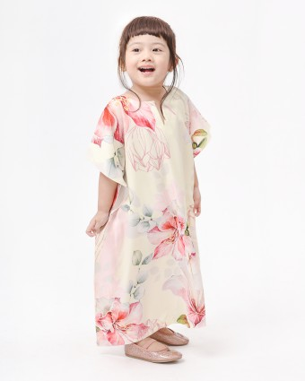 BOUGAINVILLEA BABY KAFTAN - SOFT YELLOW