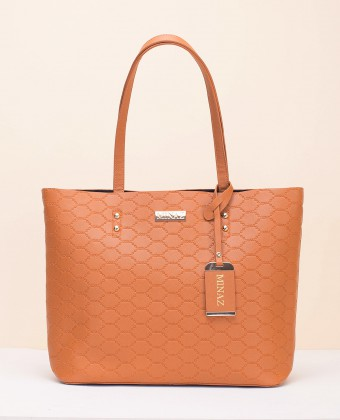 MEDIUM MONOGRAM TOTE BAG - CAMEL BROWN
