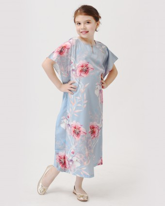CHERRY BLOSSOM KIDS KAFTAN - TEAL BLUE