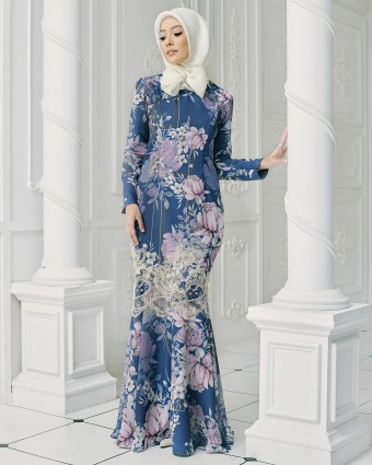 CHRYSANTHEMUM MODERN KURUNG - DARK BLUE