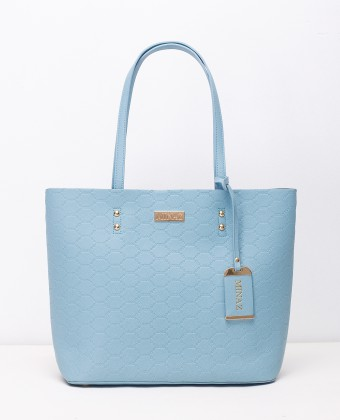 MEDIUM MONOGRAM TOTE BAG - ICY BLUE