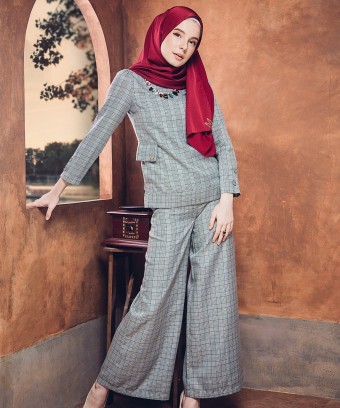 LASHIRA CHECKERED SUIT - GREY