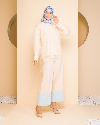 LAYLA ORGANDI SUIT - CREAM BLUE