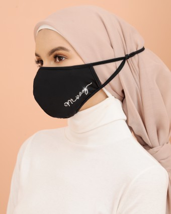 EMBELLISHED MASK (HEAD LOOP) + PACK OF 5 PM2.5 FILTERS - BLACK