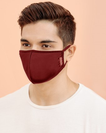 UNISEX MASK (EAR LOOP) + PACK OF 5 PM2.5 FILTERS - MAROON