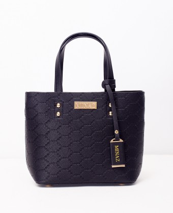 MINI MONOGRAM TOTE BAG - BLACK