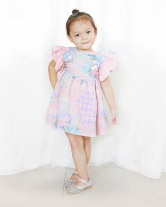 PEONY CHECKERED BABY DRESS - ROSE PINK
