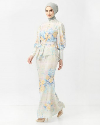 PEONY CHECKERED MINI KURUNG - SOFT YELLOW