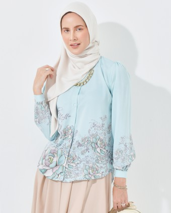 PEONY PRINTED BLOUSE - DUSTY BLUE (1)