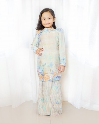 PEONY CHECKERED KURUNG KIDS - SOFT YELLOW (XS-M)