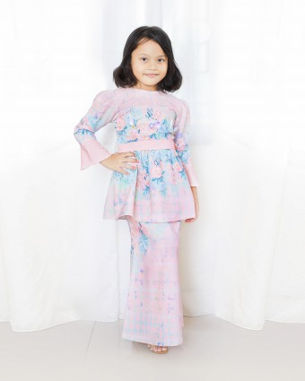 PEONY CHECKERED PEPLUM KIDS - ROSE PINK (XS-M)