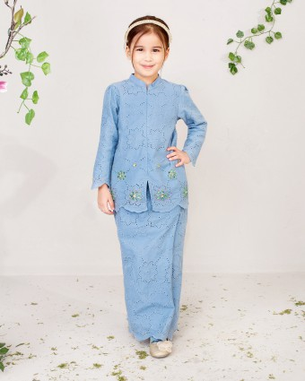 EMMA KIDS BASIC KEBAYA - POWDER BLUE (XS-M)