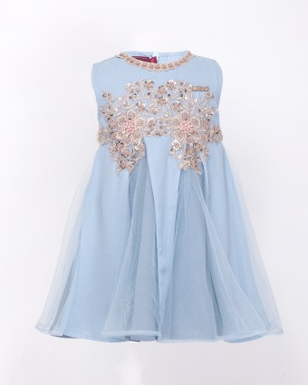 QISTINA LACEY BABY DRESS - ICY BLUE