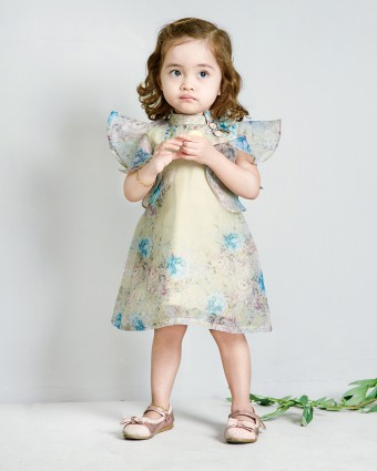 SECRET GARDEN BABY DRESS - SOFT LIME