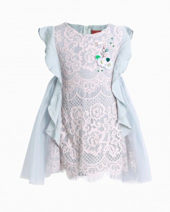AUBREY LACEY BABY DRESS - DUSTY GREEN