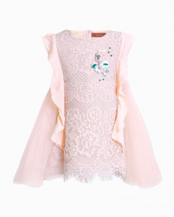 AUBREY LACEY BABY DRESS - PEACH