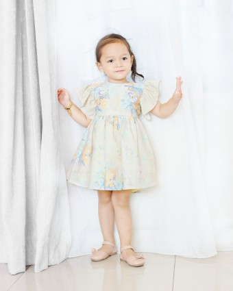 PEONY CHECKERED BABY DRESS - SOFT YELLOW