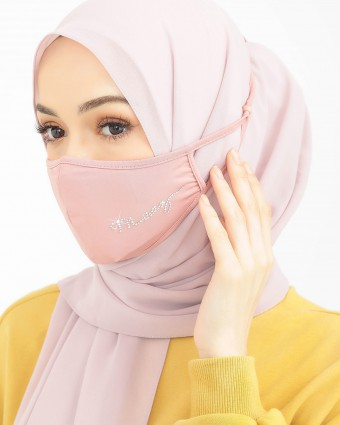EMBELLISHED MASK (HEAD LOOP) + PACK OF 5 PM2.5 FILTERS - PASTEL PINK