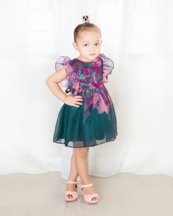RUTH CLAY BABY DRESS - EMERALD GREEN