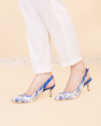 ASIAN PORCELAIN HEELS - BLUE WHITE