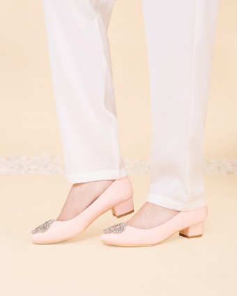 PLAIN PORCELAIN FLATTY SHOES - BLUSH PINK