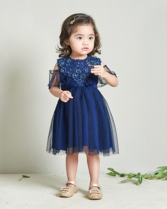 AMEERA LACEY BABY DRESS - DARK BLUE