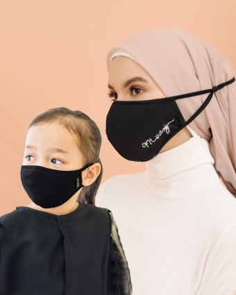 COMBO | EMBELLISHED MASK (HEAD LOOP) + KIDS MASK (HEAD LOOP) - BLACK