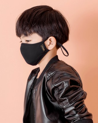 UNISEX KIDS MASK (EAR LOOP) + PACK OF 5 PM2.5 FILTERS - BLACK